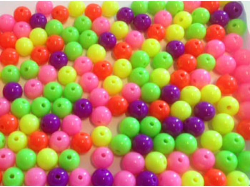 Plastik perler- Neon 10 mm