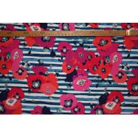 """Striber m/blomster blå - """"Art Gallery Fabrics"""" bomuldsjersey"""