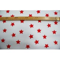 Bomuldslærred- Stjerner hvid m/rød