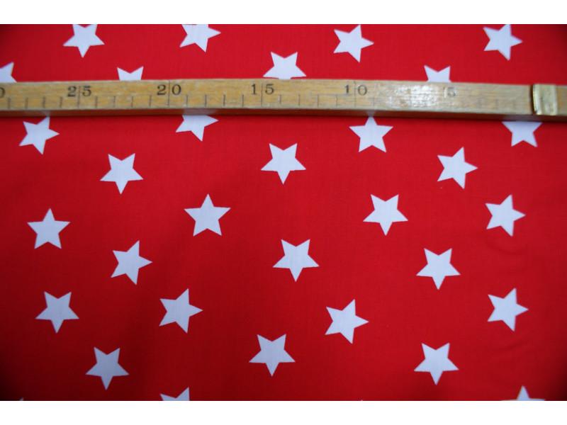 Bomuldslærred- Stjerner rød m/hvid