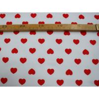 Bomuldslærred- Hjerter hvid m/rød