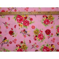 Bomuldslærred- Blomster og fugle rosa