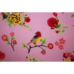 Bomuldslærred- Lyserød fugl