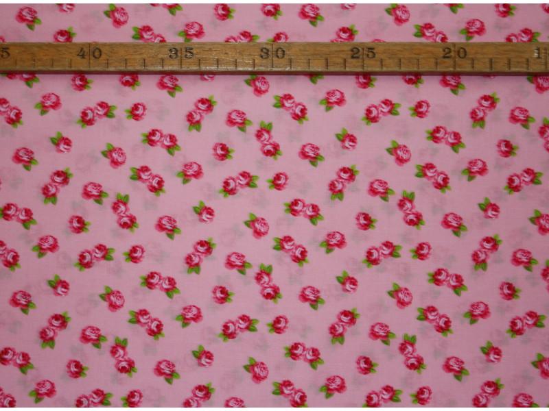 Bomuldslærred- Små roser Rosa