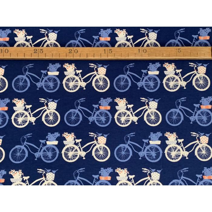 """Cykler m/blomster og fugle i kurv  - """"Art Gallery Fabrics"""" bomuldsjersey"""