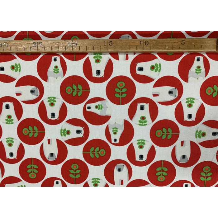 Patchwork - Isbjørne i prikker rød/grøn