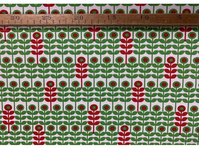 Patchwork - Retro blomst grøn/rød