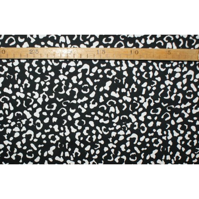 Twill- Leopard, sort med hvid