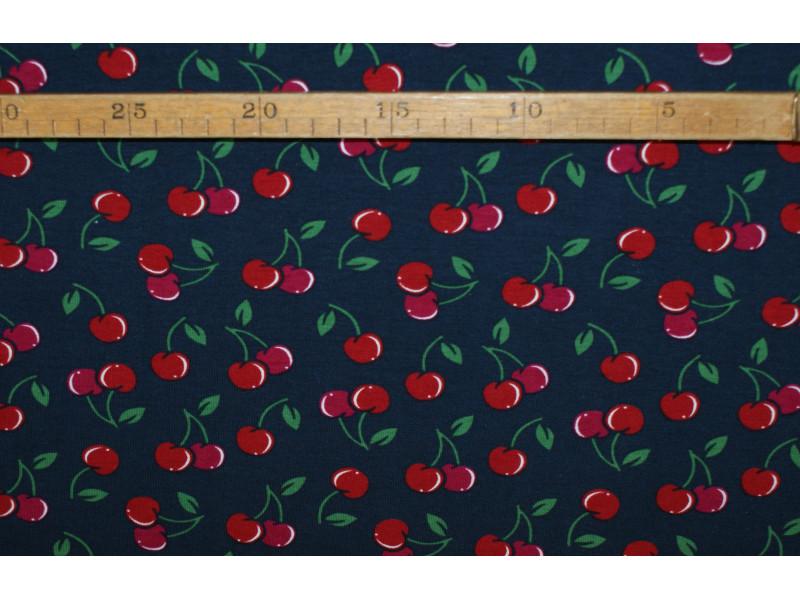 Kirsebær marineblå - bomuldsjersey