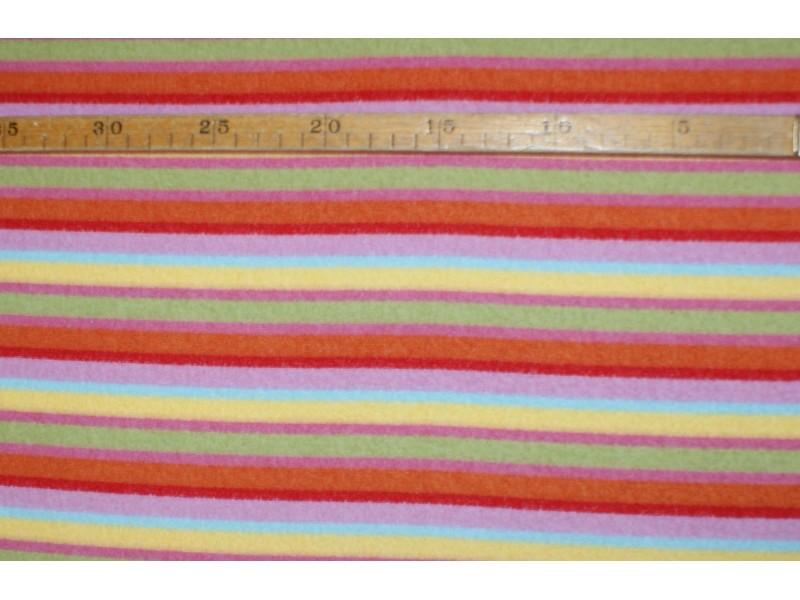 "Strækvelour -  Stribet, i ""sarte toner"" Rosa/orange/gul/turkis/grøn. Nr. 5059"