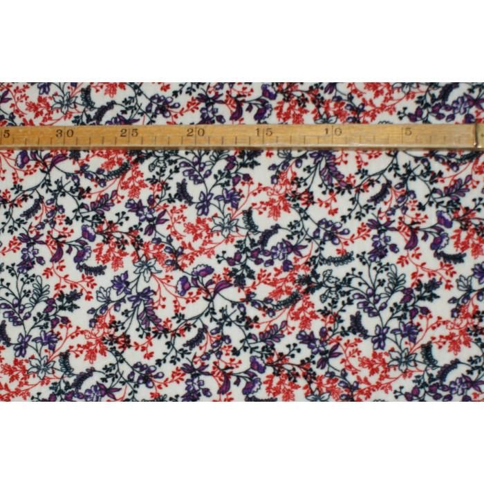 Strækvelour - Natur farvet bund m/ orange, lilla og koksgrå. Nr. 5005