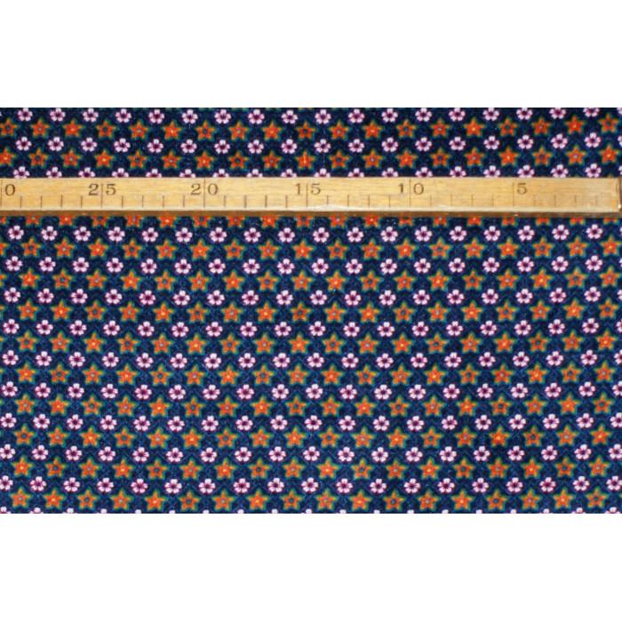 Strækvelour - Blå bund m/ pink blomster og orange/grøn/lilla stjerner. Nr. 5028