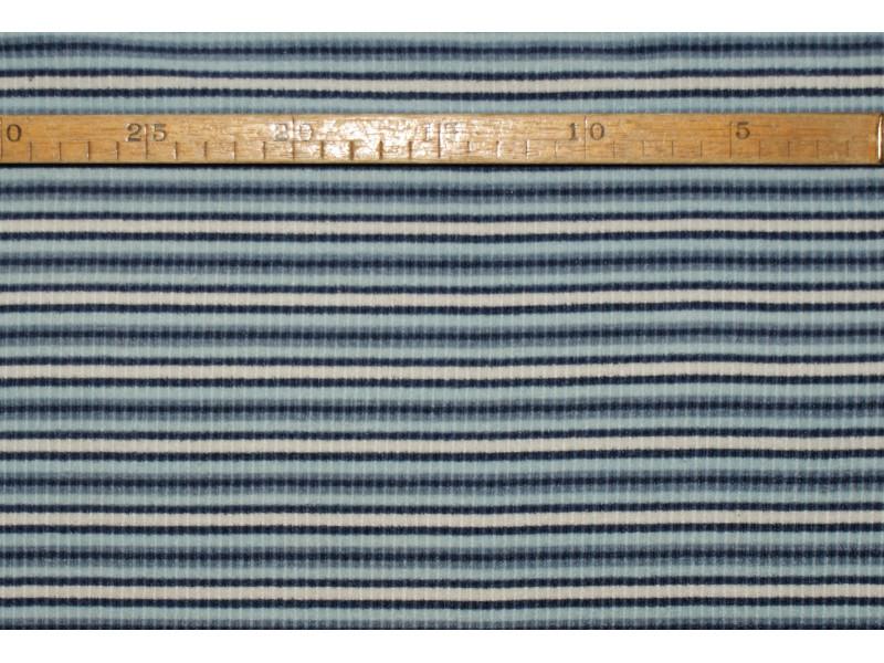 """Strækvelour - Marine-/denim-/lyse-blå og natur striber, """"riflet"""" kvalitet alá fløjl. Nr. 5030"""