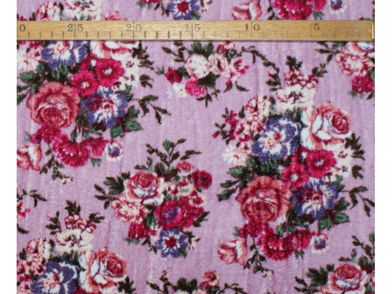 Strækvelour -  Støvet rosa bund m/ flere rosa/pink/lilla nuancer blomster. Nr. 5041