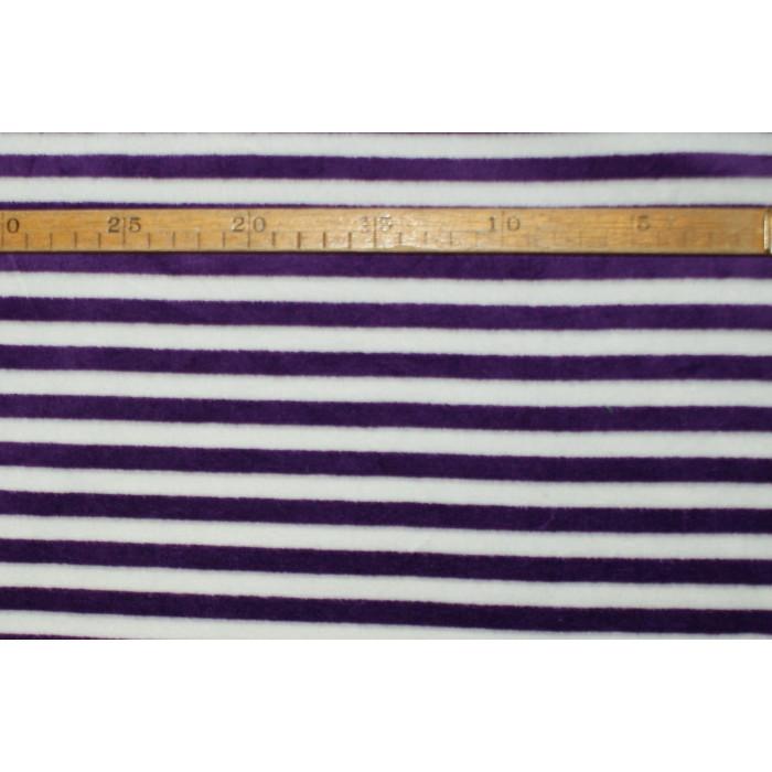 Strækvelour - Hvid/lilla striber. Nr. 5045