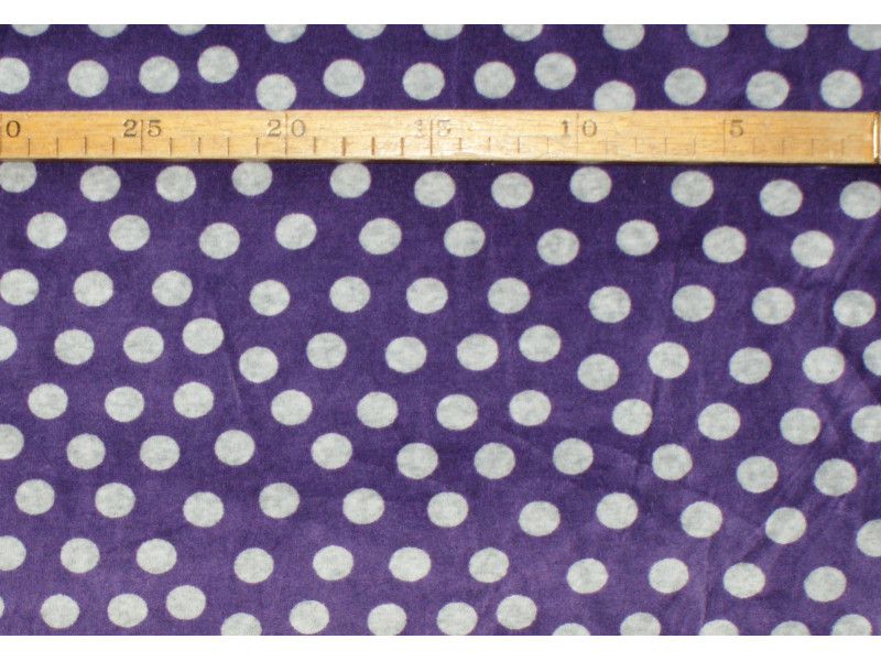 Strækvelour - Lilla bund med grå prikker. Nr. 5053