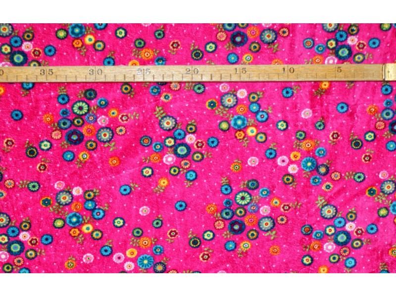Strækvelour- Pink bund m/ multifarvede blomster. Nr. 5061