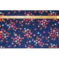 Strækvelour -  Marineblå bund m/ multifarvede blomster. Nr. 5062